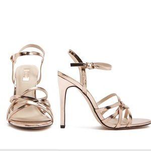 Shoes - Metallic Strappy Heels